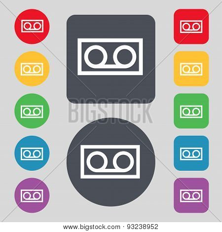 Audio Cassette Icon Sign. A Set Of 12 Colored Buttons. Flat Design. Vector