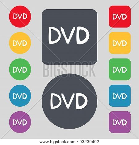 Dvd Icon Sign. A Set Of 12 Colored Buttons. Flat Design. Vector