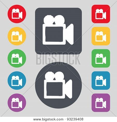 Camcorder Icon Sign. A Set Of 12 Colored Buttons. Flat Design. Vector