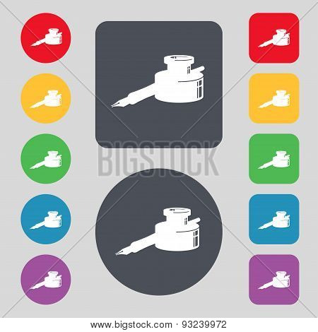 Pen And Ink Icon Sign. A Set Of 12 Colored Buttons. Flat Design. Vector