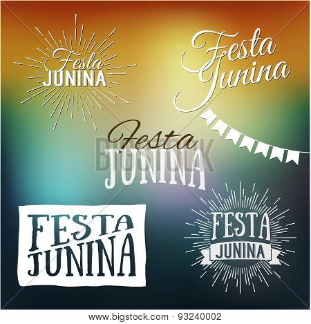 Festa Junina Set Of Logos, Emblems And Labels - Traditional Brazil June Festival Party - Midsummer H