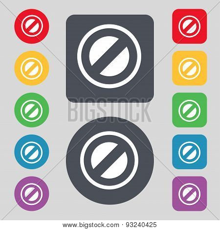 Cancel Icon Sign. A Set Of 12 Colored Buttons. Flat Design. Vector