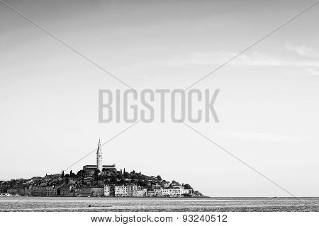 Town Of Rovinj On Adriatic Coast Bw