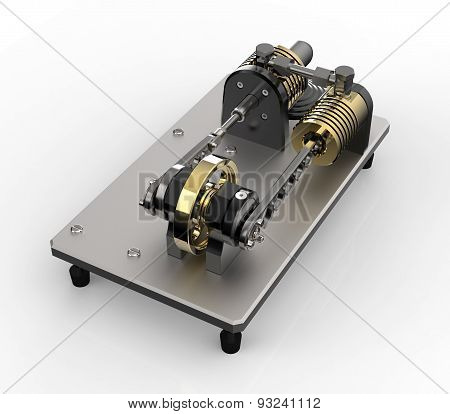 Hot Air Stirling Engine Isolated On White