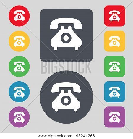 Retro Telephone Handset  Icon Sign. A Set Of 12 Colored Buttons