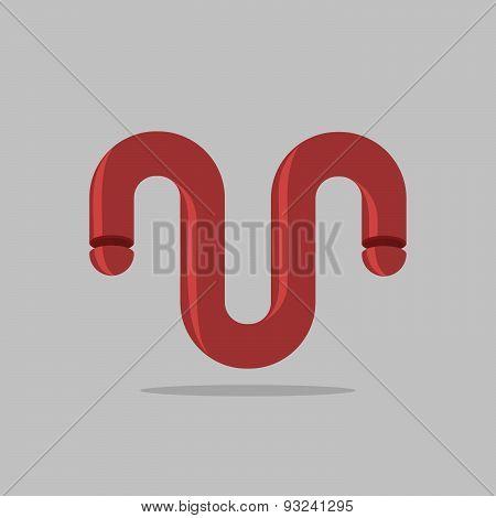 Abstract logo. Maroon 3D Bent trumpet. Business design template. Vector illustration.