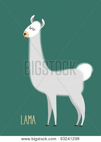 Llama Alpaca. Animal Lama on a green background. Vector illustration