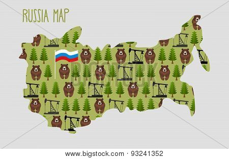 Russia Map  with minerals and flora: an oil rig and the forest, and brown bears. Vector illustratio