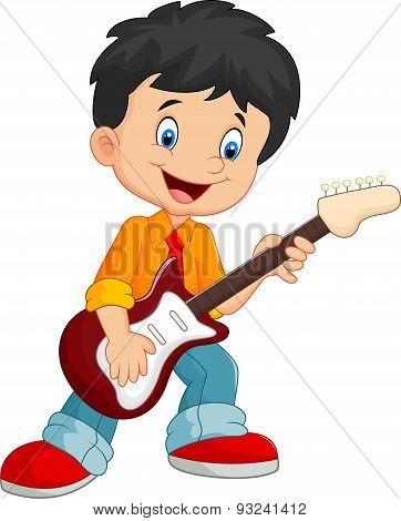 Cartoon child play a guitar