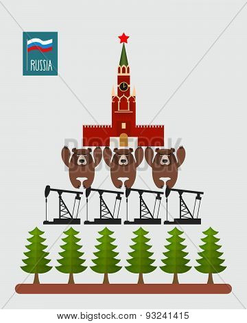 Structure Russia. Moscow Kremlin is based on  three bears. Bears stand on oil rigs. Oil pumps are on