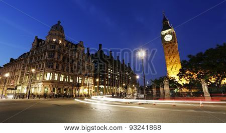 Night View Of London Parliament Square, Big Ben Present