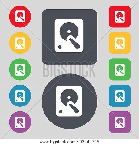 Hard Disk Icon Sign. A Set Of 12 Colored Buttons. Flat Design. Vector