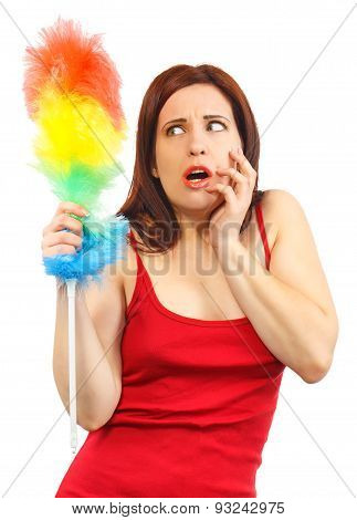 Frightened Woman In Red Shirt With Whisk For House Dust