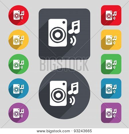 Music Column, Disco, Music, Melody, Speaker Icon Sign. A Set Of 12 Colored Buttons And A Long Shadow