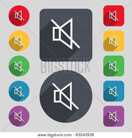 Without Sound, Mute Icon Sign. A Set Of 12 Colored Buttons And A Long Shadow. Flat Design. Vector
