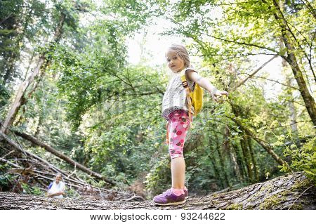 Proud Little Girl Scout Standing On A Log In The Woods