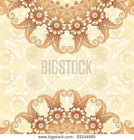 Hand-drawn vintage background in mehndi style