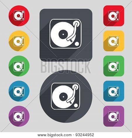 Gramophone, Vinyl Icon Sign. A Set Of 12 Colored Buttons And A Long Shadow. Flat Design. Vector