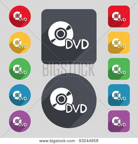 Dvd Icon Sign. A Set Of 12 Colored Buttons And A Long Shadow. Flat Design. Vector