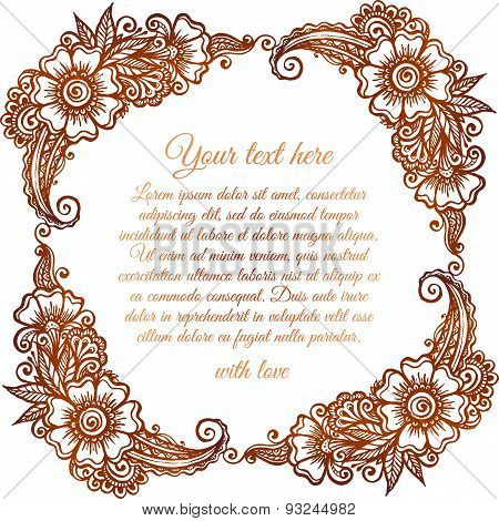 Brown floral frame in Indian mehndi style