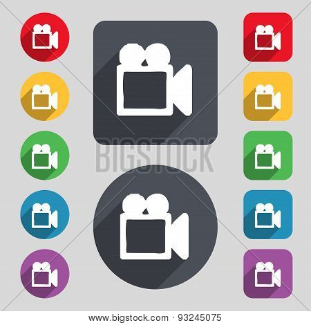Camcorder Icon Sign. A Set Of 12 Colored Buttons And A Long Shadow. Flat Design. Vector