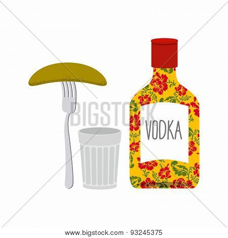 Vodka and glass. Pickled cucumber on  plug. Traditional Russian alcohol. Bottle with national patte