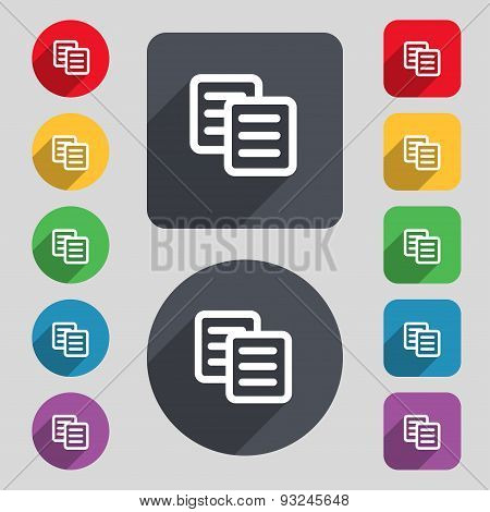Copy Icon Sign. A Set Of 12 Colored Buttons And A Long Shadow. Flat Design. Vector