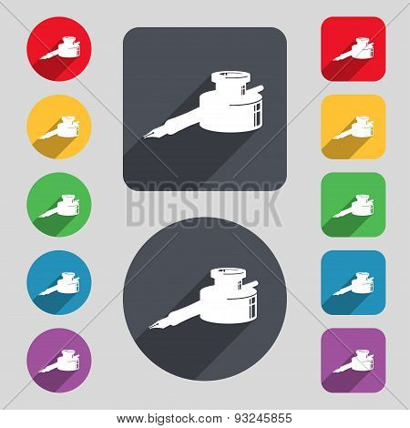 Pen And Ink Icon Sign. A Set Of 12 Colored Buttons And A Long Shadow. Flat Design. Vector