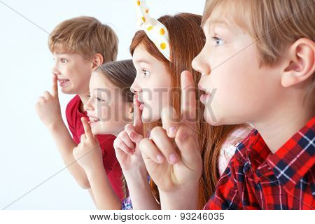 Little children keeping silence