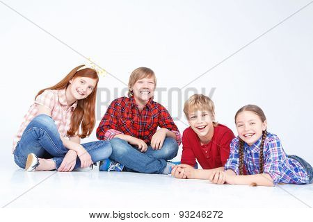 Children having fun on the floor