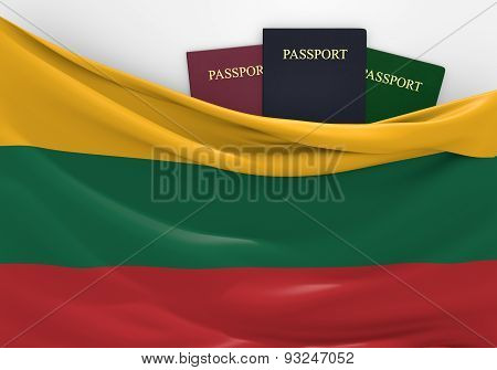 Travel and tourism in Lithuania, with assorted passports