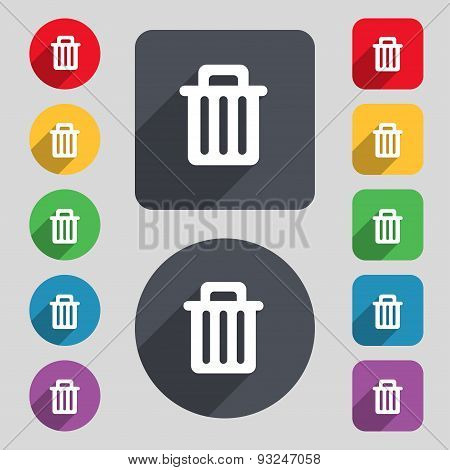 Recycle Bin Icon Sign. A Set Of 12 Colored Buttons And A Long Shadow. Flat Design. Vector