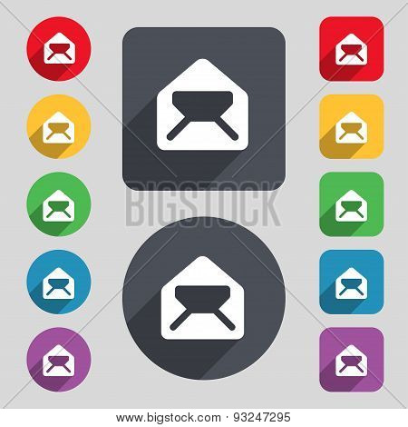 Mail, Envelope, Letter Icon Sign. A Set Of 12 Colored Buttons And A Long Shadow. Flat Design. Vector