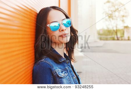 Fashion Portrait Of Beautiful Young Woman In The Sunglasses
