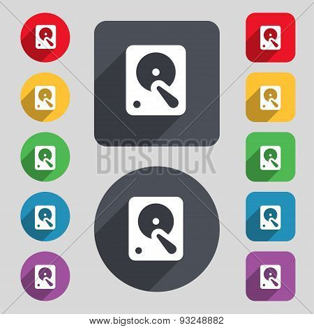 Hard Disk Icon Sign. A Set Of 12 Colored Buttons And A Long Shadow. Flat Design. Vector