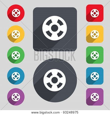 Film Icon Sign. A Set Of 12 Colored Buttons And A Long Shadow. Flat Design. Vector