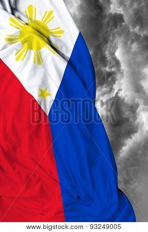 Philippine waving flag on a bad day