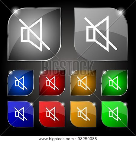 Without Sound, Mute Icon Sign. Set Of Ten Colorful Buttons With Glare. Vector