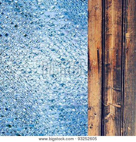 Azure Drips And Wooden Timber As Abstract Background.