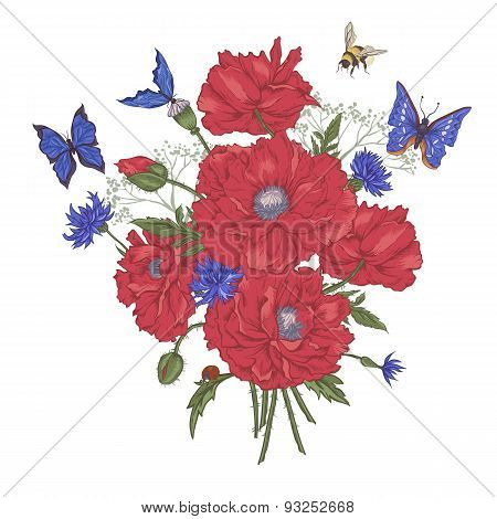 Greeting Card with Blooming Red Poppies