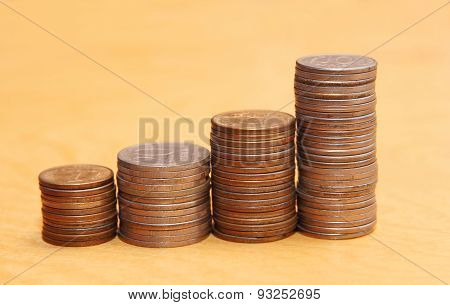 Stacks Of Coins.