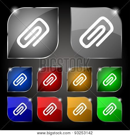 Clip To Paper Icon Sign. Set Of Ten Colorful Buttons With Glare. Vector