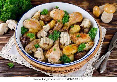 Baked Chicken Legs With Potatoes, Champignon And Cauliflower