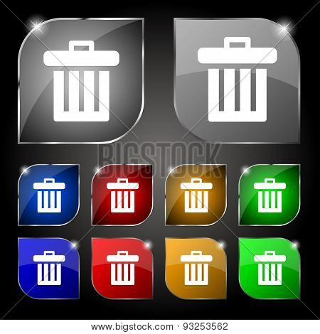 Recycle Bin Icon Sign. Set Of Ten Colorful Buttons With Glare. Vector