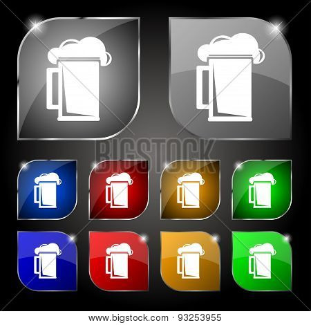 Glass Of Beer Icon Sign. Set Of Ten Colorful Buttons With Glare. Vector