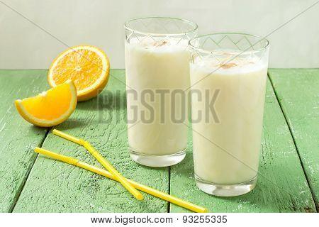 Cocktail With Fresh Organic Ingredients: Milk, Orange Juice, Nutmeg