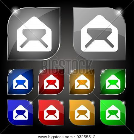 Mail, Envelope, Letter Icon Sign. Set Of Ten Colorful Buttons With Glare. Vector