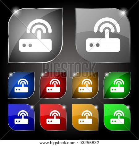 Wi Fi Router Icon Sign. Set Of Ten Colorful Buttons With Glare. Vector