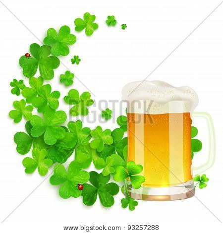 Mug of light beer on green clovers swirl background, St. Patricks Day illustration