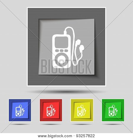 Mp3 Player, Headphones, Music Icon Sign On Original Five Colored Buttons. Vector